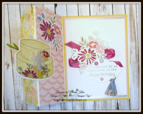 Cake Soiree  Sweet Cake Framelits  Sweet Soiree Embellishments Kit  Petal Pair TIEF  Flip Fold Card - 3
