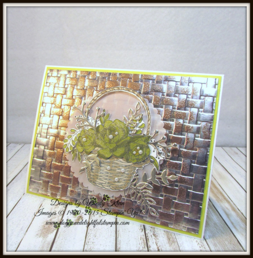 Blossoming Basket  Basket Weave Dynamic TIEF  Stampin' Blends  Sweet Cake Framelits  Champagne Foil - 1