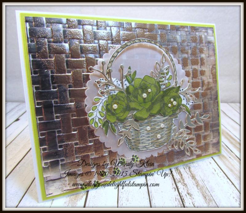 Blossoming Basket  Basket Weave Dynamic TIEF  Stampin' Blends  Sweet Cake Framelits  Champagne Foil - 2
