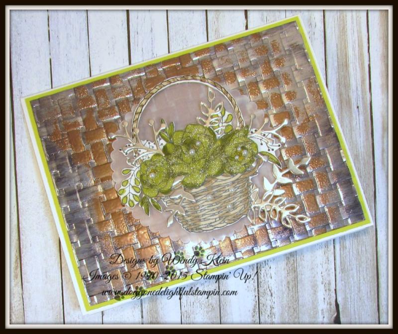 Blossoming Basket  Basket Weave Dynamic TIEF  Stampin' Blends  Sweet Cake Framelits  Champagne Foil - 4