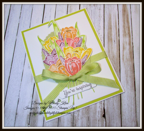 Tranquil Tulips  Layering Ovals  Lemon Lime Twist Mini Striped Ribbon  Vellum  Pearls - 3