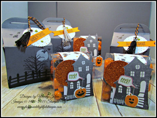 Bakers Box Thinlits, Clear Tiny Treat Boxes, Spooky Fun, Halloween Scares, Halloween Scenes Edgelits, Pumpkin Pie Glimmerr, Halloween Night SDSP, Enamel Dots & Bakers Twine, Mini Tassels (2)