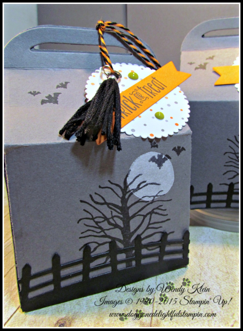 Bakers Box Thinlits, Clear Tiny Treat Boxes, Spooky Fun, Halloween Scares, Halloween Scenes Edgelits, Pumpkin Pie Glimmerr, Halloween Night SDSP, Enamel Dots & Bakers Twine, Mini Tassels (5)