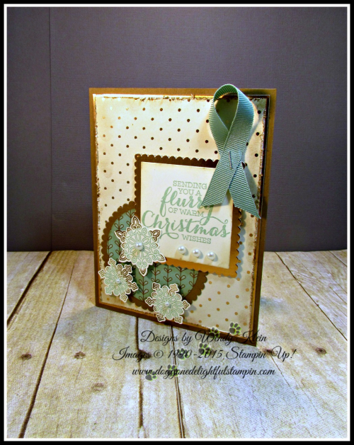 Flurry of Wishes, Snow Flurry Punch, Layering Squares & Circles Framelits, Petals & Paisleys SDSP, Copper Foil (1)
