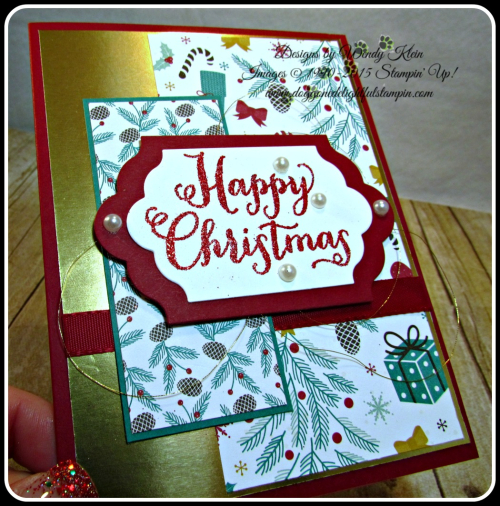 Oh What Fun, Presents & Pinecones DSP, Lots of Labels framelits, Pretty Pines Thinlits, Glitter embossing powder (4)