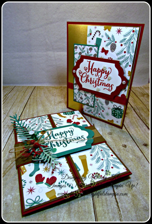 Oh What Fun, Presents & Pinecones DSP, Lots of Labels framelits, Pretty Pines Thinlits, Glitter embossing powder (9)