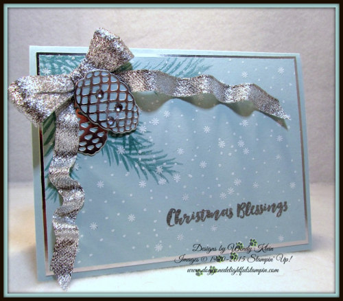 Christmas Pines, Pretty Pines Thinlits, Silver Glitter Ribbon, embossing (2)