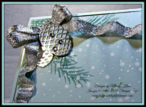 Christmas Pines, Pretty Pines Thinlits, Silver Glitter Ribbon, embossing (4)