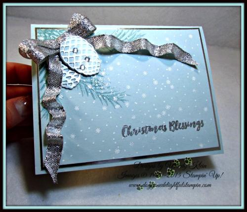 Christmas Pines, Pretty Pines Thinlits, Silver Glitter Ribbon, embossing (9)