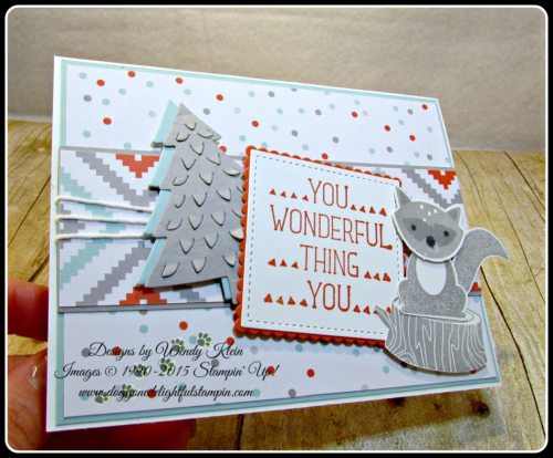 Foxy Friends, Suite Sayings, A Little Foxy DSP, Stitched Shapes Framelits, Layering Squares framelits, Perfect Pines framelits, Fox Builder Punch, Stampin Up, Wendy Klein (7)