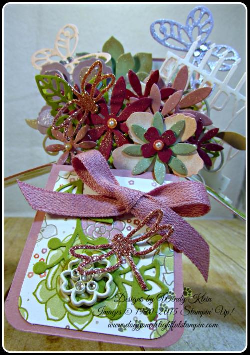 Pop Up Box Card, Succulent Framelits, Botanicals Builder Framelits, Butterfly Framelits, Party Pop-Up Thinlits, Stampin Up, Wendy Klein (2)
