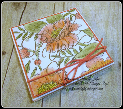 Inside the Lines  So Very Much  Versamark  Watercolor Pencils  AquaPainter  Copper emboss powder  Calypso Coral Bakers Twine  Stampin Up  Wendy Klein (3)