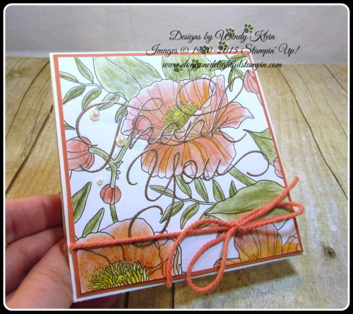 Inside the Lines  So Very Much  Versamark  Watercolor Pencils  AquaPainter  Copper emboss powder  Calypso Coral Bakers Twine  Stampin Up  Wendy Klein (5)