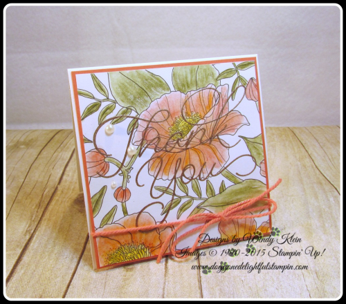 Inside the Lines  So Very Much  Versamark  Watercolor Pencils  AquaPainter  Copper emboss powder  Calypso Coral Bakers Twine  Stampin Up  Wendy Klein (1)