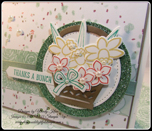 Basket Bunch  Succulent Garden DSP  Basket Builder Framelits  Stitched Shapes Framelits  Classic Label Punch  SAB Glimmer Paper Asst pack  Mint Macaron Sheer Linen Ribbon  Wendy Klein  Stampin Up (2)
