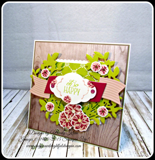 Lovely Friends  Lovely Laurel Thinlits  Fresh Florals DSP  Wood Textures DSP  Layering Squares  Stitched Shapes  Pretty Label Punch  In Color (5)