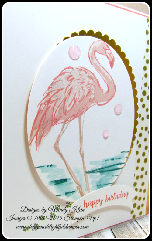 Fabulous Flamingo  Happy Birthday Gorgeous  Layering Ovals framelits  Duet Banner Punch  Glitter Enamel Dots (3)