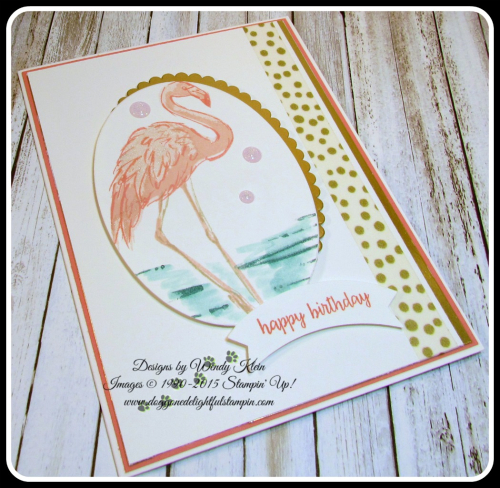 Fabulous Flamingo  Happy Birthday Gorgeous  Layering Ovals framelits  Duet Banner Punch  Glitter Enamel Dots (4)