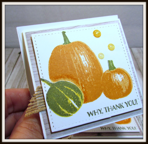 Gourd Goodness  Wood Textures DSP  Stitched Shapes Framelits  Burlap Ribbon  Glitter Enamel Dots - 4
