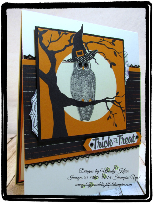 Spooky Cat  Spooky Night DSP  Classic Label Punch  Black Rhinestones  Vintage Crochet Trim - 2