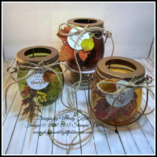 Tealite Jar  Vintage Leaves  Layered Leaves  Jute - 1