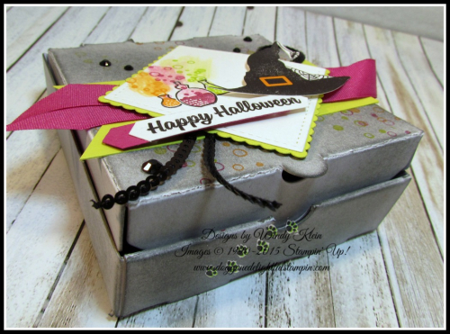 Pizza Box  Spooky Cat  Classic Label Punch  Banner Triple Punch  Stitched Shapes  Layering Squares  Berry Burst Finely Wovan Ribbon  Mini Black Sequins  Black Rhinestones - 2
