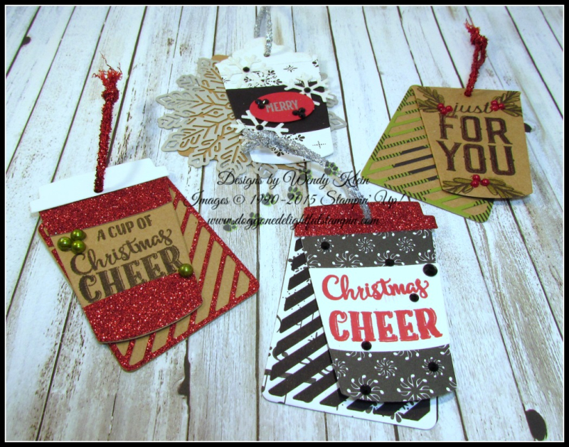 Merry Cafe  Coffee Ups Framelits  Celebration Thinlits  Seasonal Tags  Kraft  Red Glimmer  Foil Snowflakes  Black Rhinestones  Pearls - 1