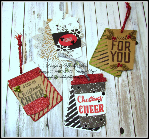 Merry Cafe  Coffee Ups Framelits  Celebration Thinlits  Seasonal Tags  Kraft  Red Glimmer  Foil Snowflakes  Black Rhinestones  Pearls - 3