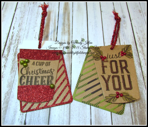 Merry Cafe  Coffee Ups Framelits  Celebration Thinlits  Seasonal Tags  Kraft  Red Glimmer  Foil Snowflakes  Black Rhinestones  Pearls - 4