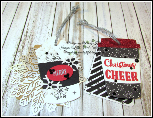 Merry Cafe  Coffee Ups Framelits  Celebration Thinlits  Seasonal Tags  Kraft  Red Glimmer  Foil Snowflakes  Black Rhinestones  Pearls - 5
