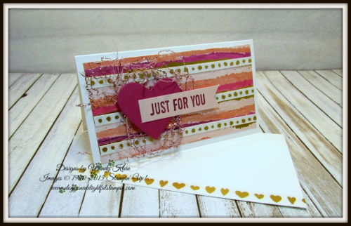 Sure Do Love You  Narrow Note cards & envelopes  Painted with Love SDSP  Sweet & Sassy Framelits  Love Mini Tinsel Trim - 1