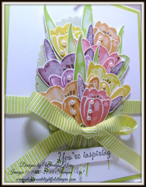 Tranquil Tulips  Layering Ovals  Lemon Lime Twist Mini Striped Ribbon  Vellum  Pearls - 2