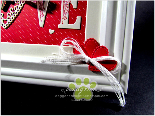 Be Mine Stitched Framelits  Large Letters framelits  Lovely Lipstick ribbon  Classic Garage Metal Elements  Whisper White Flax ribbon - framed art - 5