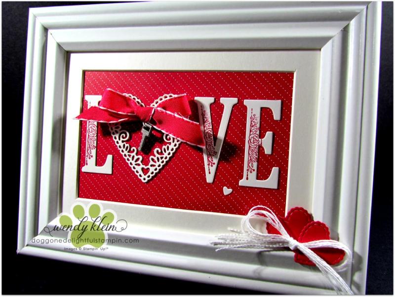 Be Mine Stitched Framelits  Large Letters framelits  Lovely Lipstick ribbon  Classic Garage Metal Elements  Whisper White Flax ribbon - framed art - 2