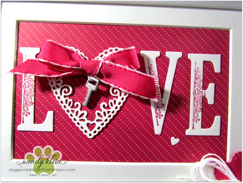Be Mine Stitched Framelits  Large Letters framelits  Lovely Lipstick ribbon  Classic Garage Metal Elements  Whisper White Flax ribbon - framed art - 3