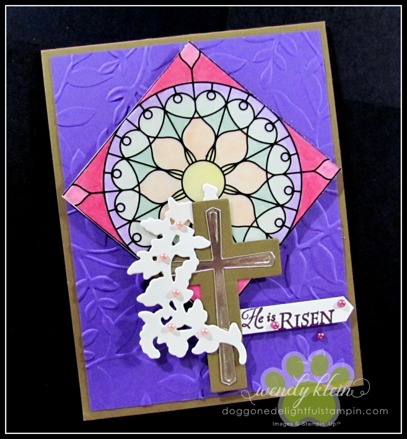 Graceful Glass Vellum  Stained Glass Technique  Layered Leaves DTIEF  Cross of Hope Framelits - 1