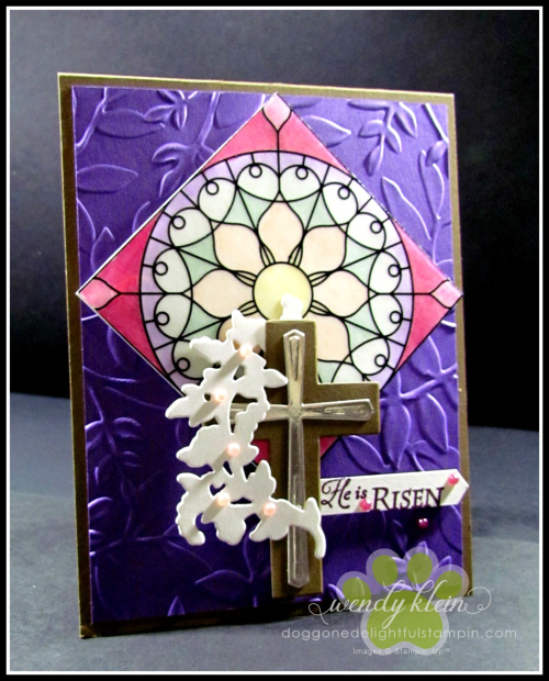 Graceful Glass Vellum  Stained Glass Technique  Layered Leaves DTIEF  Cross of Hope Framelits - 4