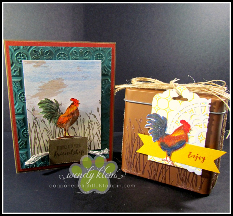 Home to Roost  Tin Tile DTIEF  watercolor pencils  copper tea tin  copper emboss powder  stampin blends - 1