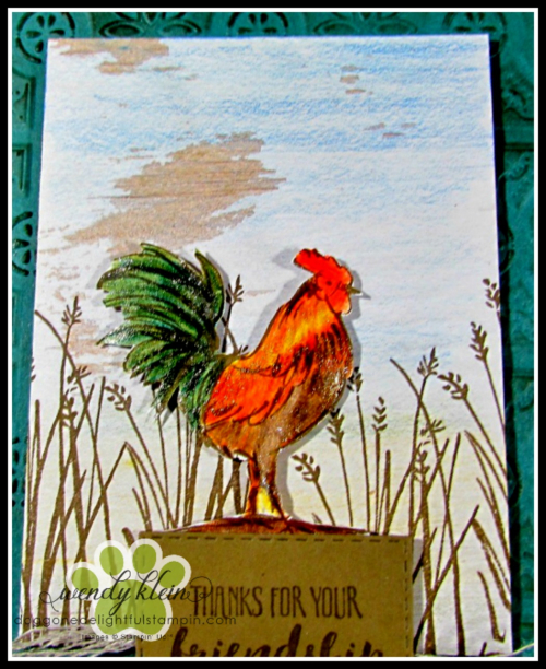 Home to Roost  Tin Tile DTIEF  watercolor pencils  copper tea tin  copper emboss powder  stampin blends - 6