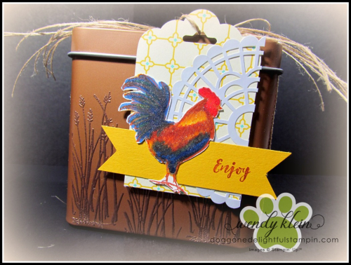 Home to Roost  Tin Tile DTIEF  watercolor pencils  copper tea tin  copper emboss powder  stampin blends - 4