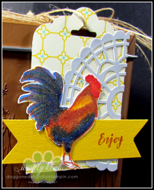 Home to Roost  Tin Tile DTIEF  watercolor pencils  copper tea tin  copper emboss powder  stampin blends - 8