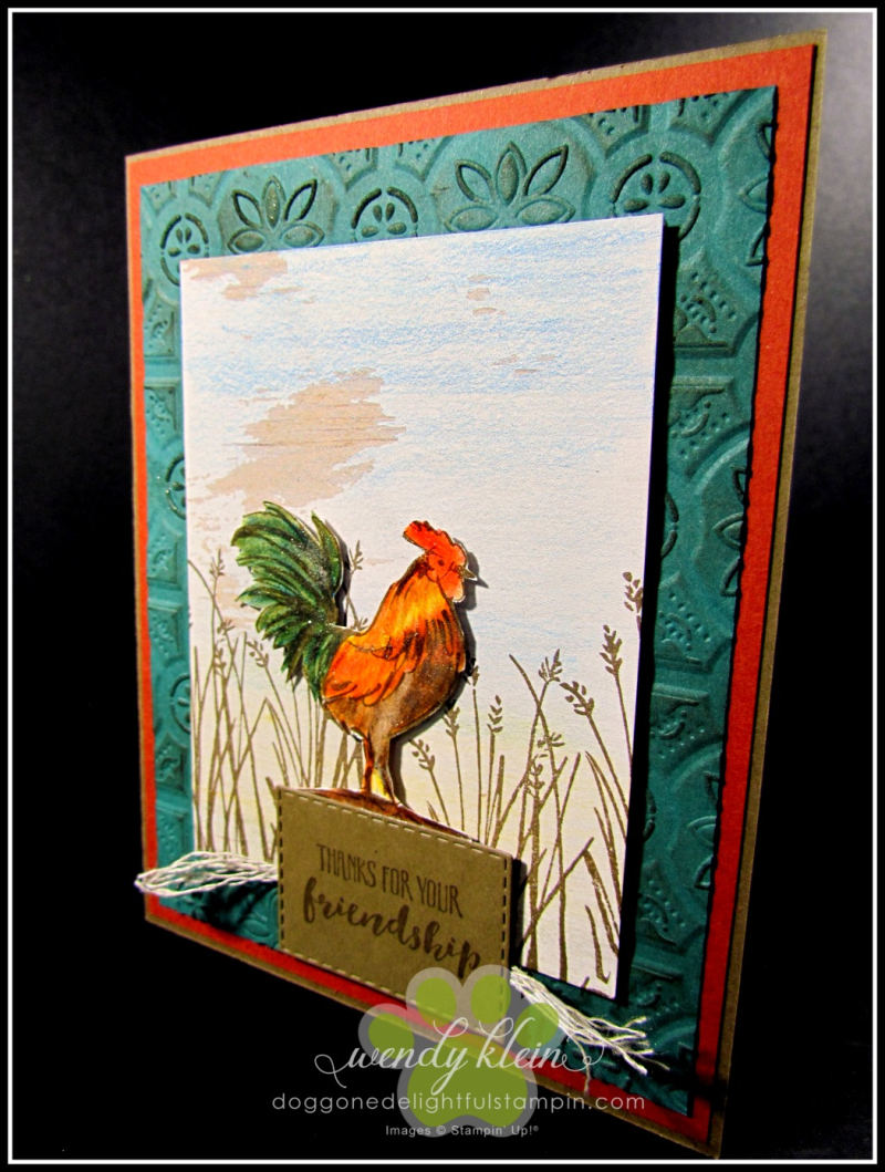 Home to Roost  Tin Tile DTIEF  watercolor pencils  copper tea tin  copper emboss powder  stampin blends - 2