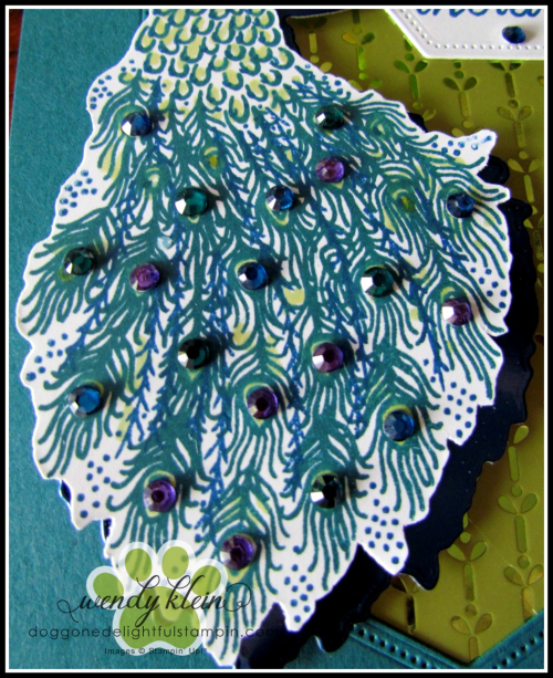 Royal Peacock  Detailed Peacock Dies  Stitched Nested Labels Dies  Noble Peacock Foil  Specialty DSP  & Rhinestones - 3